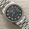 Часы Rolex Oyster Perpetual DateJust 116184 женские 37 мм серебристые с черным календарь линза копия