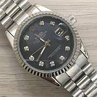 Часы Rolex Oyster Perpetual DateJust 116184 женские 37 мм серебристые с черным календарь линза копия, фото 1