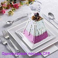 Сервировочная посуда тарелки стекловидные для фуршета банкета презентаций выставки PARTY CFP