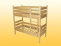 Кровать детская 2-ярусная из натурального дерева с ламелями