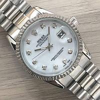 Часы Rolex Oyster Perpetual DateJust 116185 женские 37 мм серебристые с белым календарь линза копия