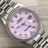 Часы Rolex Oyster Perpetual DateJust 116186 женские 37 мм серебристые с розовым календарь линза копия