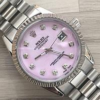 Часы Rolex Oyster Perpetual DateJust 116186 женские 37 мм серебристые с розовым календарь линза копия, фото 1