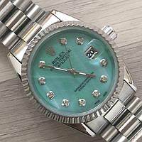 Часы Rolex Oyster Perpetual DateJust 116188 женские 37 мм серебристые с зеленым календарь линза копия, фото 1