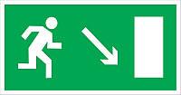 """Самоклеющаяся этикетка 100х50 мм """"Направление к эвакуационному выходу направо вниз"""""""