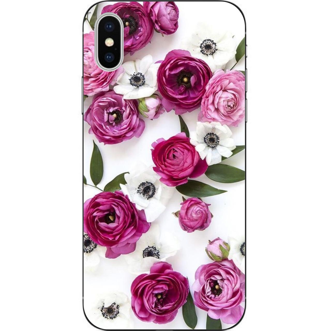 Силиконовый чехол бампер для Iphone Xs с картинкой Цветы