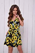Женское летнее платье с карманами и цветочным принтом