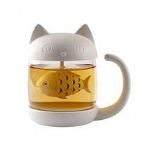 """Чашка с заварником рыбкой """"Котик"""""""