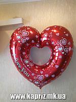 Шар  Сердце  ILY ( FM),наполненный гелием