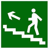 """Самоклеющаяся этикетка 150х150мм """"Направление к эвакуационному выходу по лестнице налево вверх"""""""
