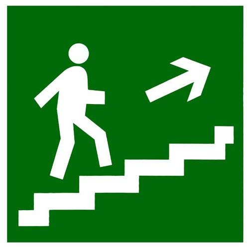 """Самоклеющаяся этикетка 150х150мм """"Направление к эвакуационному выходу по лестнице направо вверх"""""""