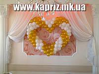 Бело-Золотое сердце из шаров 2