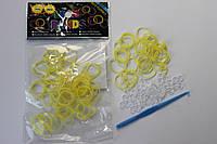 100 штук  жёлтых  резиночек резиночек для плетения Loom Bands