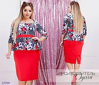 Платье 8197 с баской+принт R-23599 красный