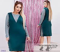 Платье 2203 со вставками из люрексовой нити R-23622 зеленый