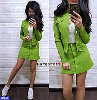 Жіночий костюмчик з кишенями горошок (розмір М,зелений,блакитний, рожевий), фото 1