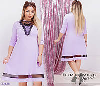 Платье 1063 по фигуре+декор бабочка R-23628 лиловый