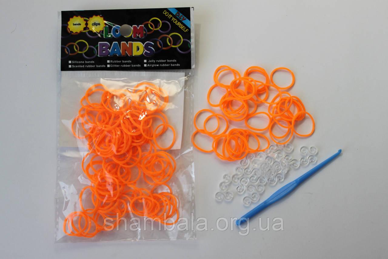 100 штук ярко оранжевых  резиночек