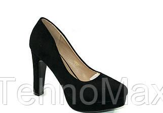 Женские нарядные черные замшевые туфли на устойчивом каблуке 36- 41