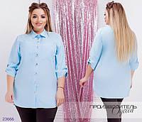Рубашка 1132 женская с рукавами 3/4 R-23666 голубой