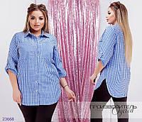 Рубашка 1132 женская в клетку с рукавами 3/4 R-23668 синий