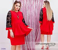 Платье 15 с баской+отделка из гипюра R-23686 красный