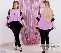Блуза украшена кружевом R-23702 лиловый