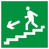 """Самоклеющаяся этикетка 50х50мм """"Направление к эвакуационному выходу по лестнице налево вниз"""""""