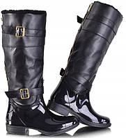Женские резиновые сапоги черного цвета, до колена , фото 1