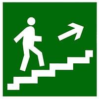 """Самоклеющаяся этикетка 50х50мм """"Направление к эвакуационному выходу по лестнице направо вверх"""""""