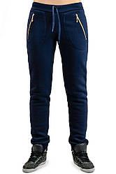 Жіночі брюки утеплені Місто (темно-сині) 4XL