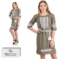 Стильне плаття з вишивкою льон-габардин (оливка)