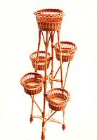 """Подставка для цветов """"Башня из лозы на 5 чаш"""""""