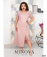 Женское красивое платье №347(р.52-58) Розовое, фото 1