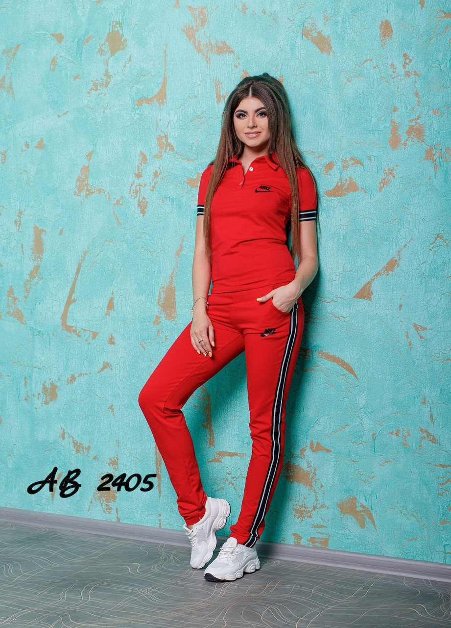 Молодіжний літній жіночий спортивний костюм: штани і футболка поло з лампасами, репліка Nike