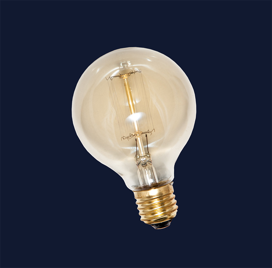 Лампа Едісона E27 G80 40W 2700K Amber 220V