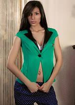 """Стильный женский деловой пиджак """"Hero"""" с коротким рукавом и кожаным воротником (7 цветов), фото 3"""