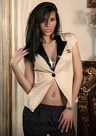 """Стильный женский деловой пиджак """"Hero"""" с коротким рукавом и кожаным воротником (5 цветов)"""