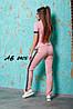 Молодежный летний женский спортивный костюм: штаны и футболка поло с лампасами, реплика Nike, фото 5