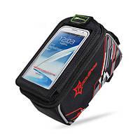 """Велосипедная сумка RockBros на раму с прозрачным отделением под смартфон 4.8"""" - красный цвет"""