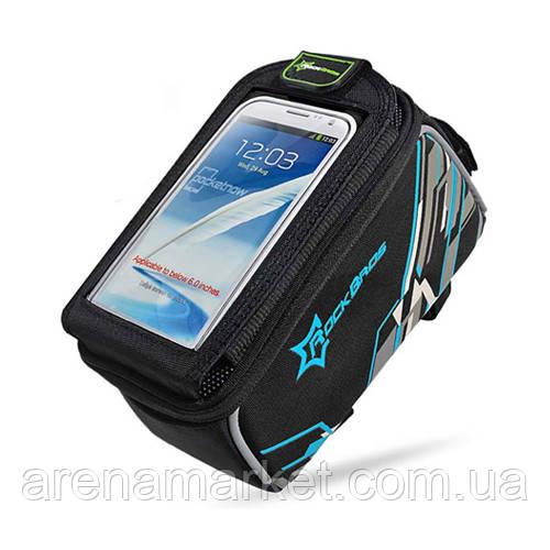 """Велосипедна сумка RockBros на раму з прозорим відділенням під смартфон 4.8"""" - синій колір"""