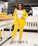 Женский стильный брючный костюм 3-ка №671 (р.54-60) Желтый, фото 1