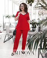 Женский стильный брючный костюм с лампасами №653(р.50-58) Красный, фото 1