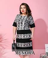Женское стильное платье со змеиным принтом №167 (р. 50-60) Серый, фото 1