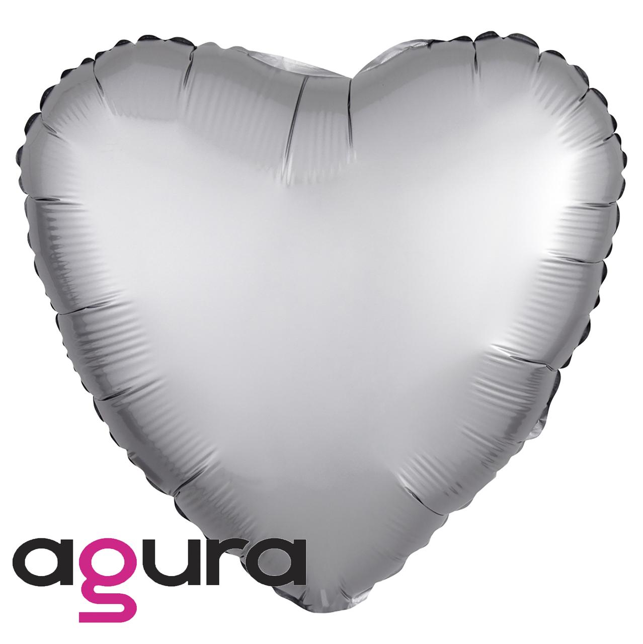 Фольгированный шар 19' Agura (Агура) Сердце платина, 49 см