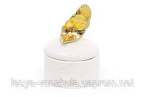 Шкатулка фарфоровая Золотое перо 8.5см