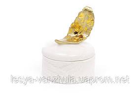 Шкатулка фарфоровая Золотое перо 10.5см