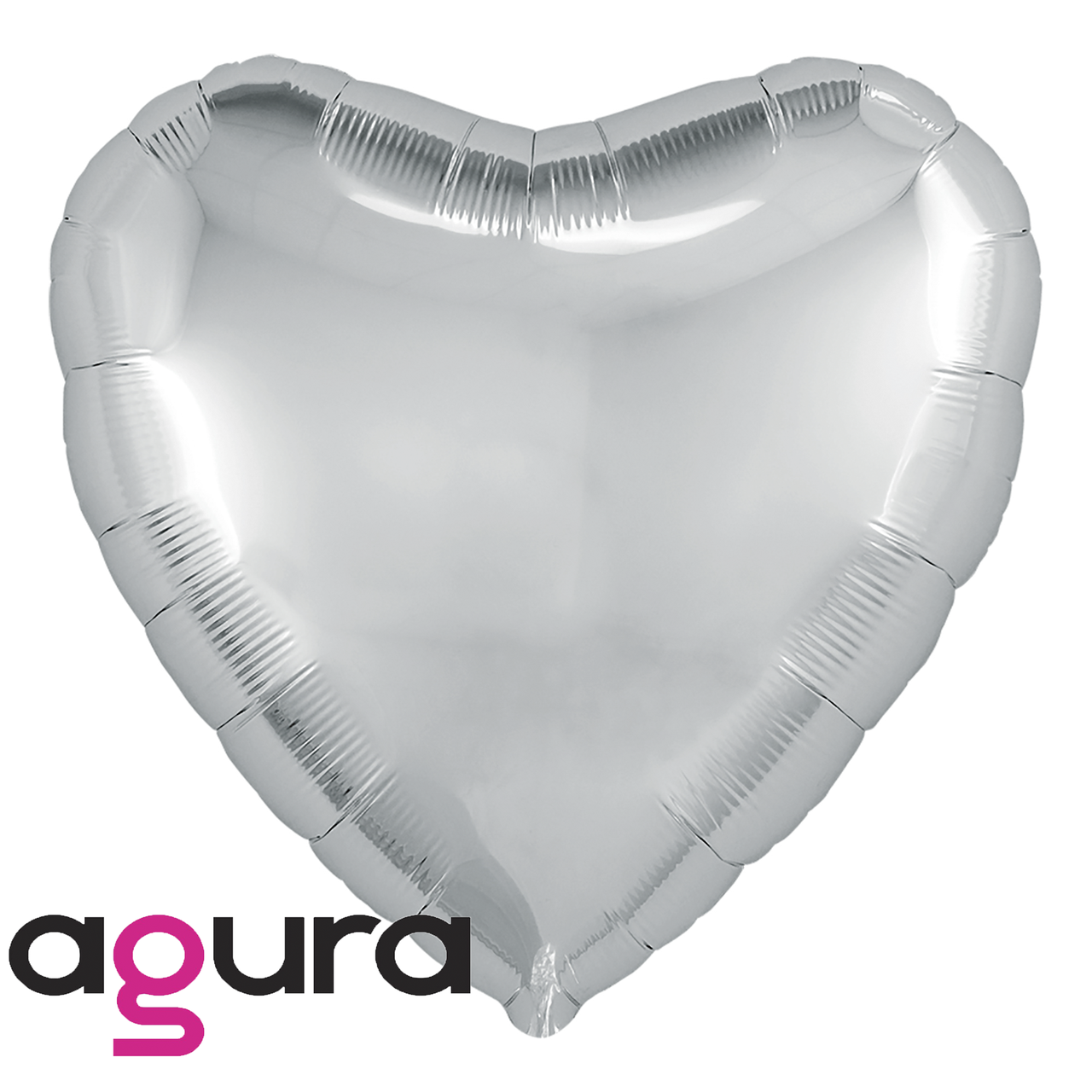 Фольгированный шар 19' Agura (Агура) Сердце серебро, 49 см