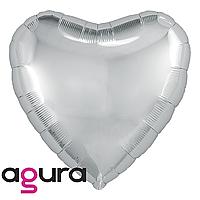 Фольгований куля 19' Agura (Агура) Серце срібло, 49 см