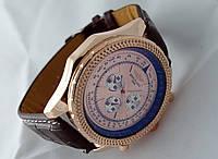 Мужские часы BREITLING кварцевые, золотистый циферблат, корпус в золотом цвете
